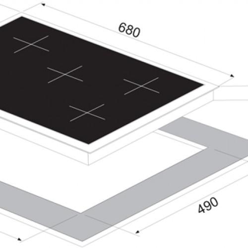 Vinola 70 cm Siyah Cam Ankastre Ocak 7010-01 - mog7010.111.01