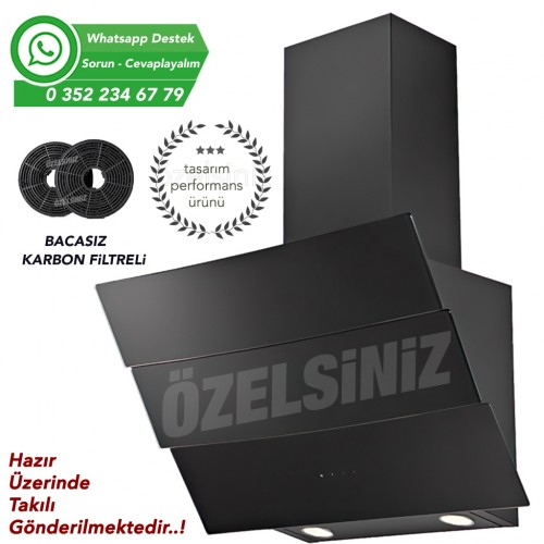 Bacasız Karbon filtreli Siyah Cam Davlumbaz ALVEUS KAVİSLİ CAM