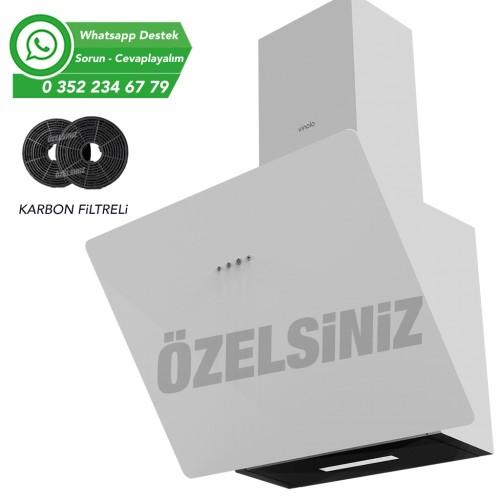 VİNOLA BACASIZ KARBON FİLTRELİ 60 CM BEYAZ ANKASTRE DAVLUMBAZ CWW130.600
