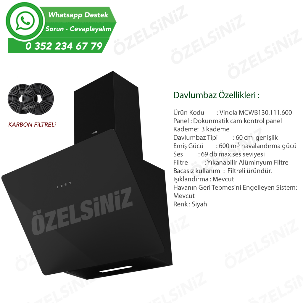 VİNOLA Bacasız Karbon filtreli Siyah Cam Davlumbaz CWB130.111.60