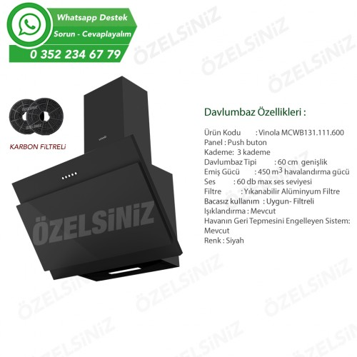 VİNOLA Bacasız Karbon filtreli Siyah Cam Davlumbaz CWB131.111.60