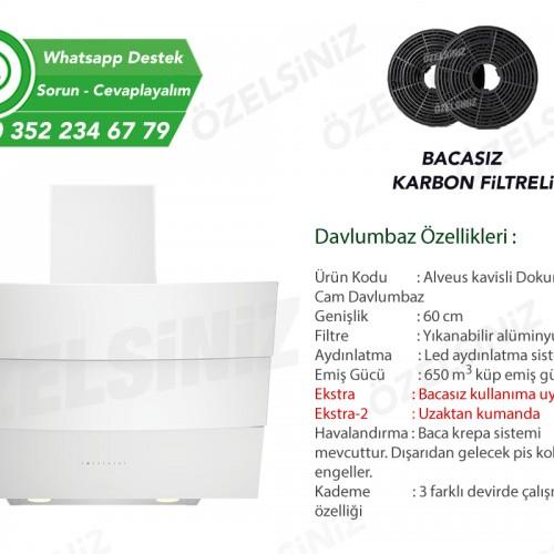 Alveus Bacasız Karbon Filtreli Beyaz Cam Kavisli Davlumbaz ( Yeni! )