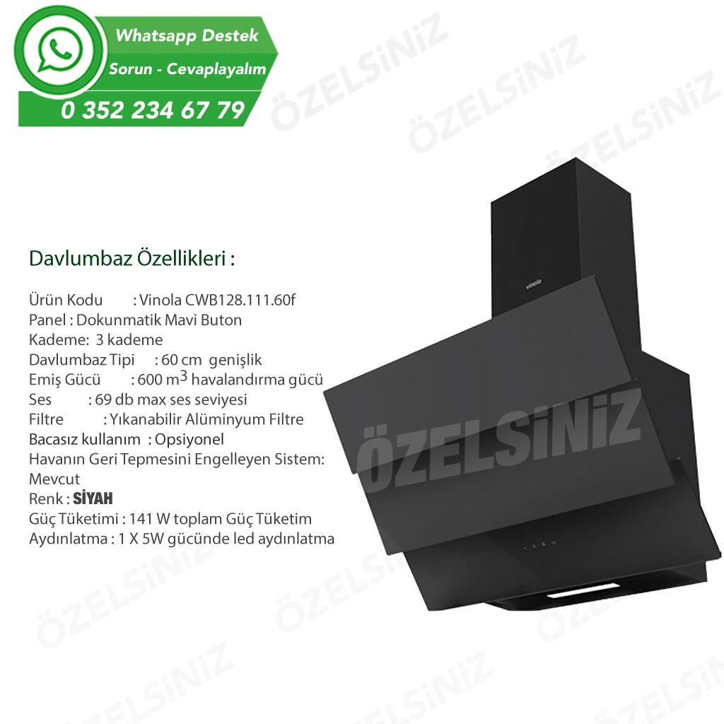 VİNOLA Bacasız Karbon filtreli Siyah Cam Davlumbaz CWB128.111.60f