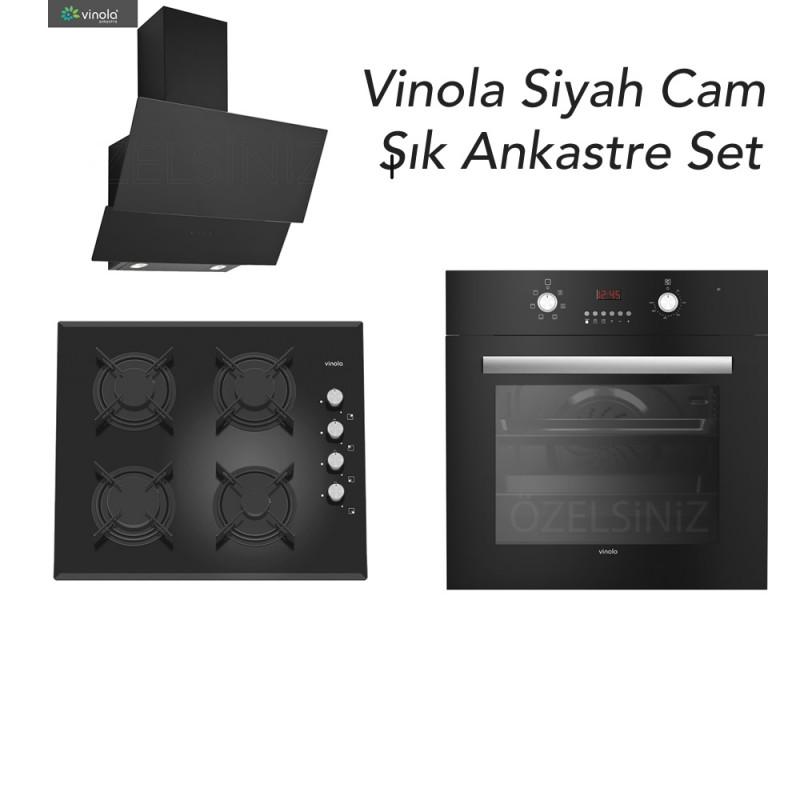 Vinola Turbolu Şık Siyah Cam Ankastre Set ( MOFA.501.111.01 + MCWB104.111.601 + MOG.6310.111.01 )