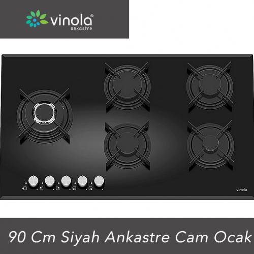 Vinola 90 Cm Emaye Izgara Siyah Cam Ankastre Ocak mog9060.111.01